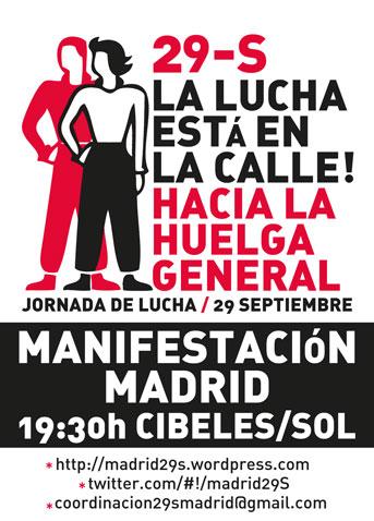 Jornada de lucha y manifestación el 29S: 19.30 h. de Cibeles a Sol
